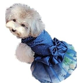 cheap Pet Supplies-Cat Dog Dress Dog Clothes Sequin Red Blue Golden Nylon Costume For Bulldog Shiba Inu Pug Spring &  Fall Summer Women's Birthday Holiday Wedding