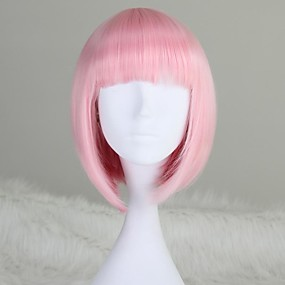 ieftine Machiaj & Îngrijire Unghii-Peruci Sintetice Drept Kardashian Stil Tunsoare bob Fără calotă Perucă Pink Roz Deschis Păr Sintetic 12 inch Pentru femei Pink Perucă Scurt / Mediu