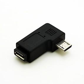 tanie Akcesoria do PC i tabletów-kątowe 90 stopni Micro USB męski na Micro USB Adapter Przedłużacz kobiece Przelicznik Darmowa wysyłka złącza kabla