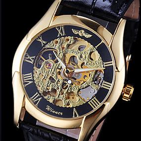 billiga Märkesklockor-WINNER Herr Armbandsur mekanisk klocka Automatisk självuppdragande Läder Svart Ihålig Gravyr Ramtyp Berlock - Guld
