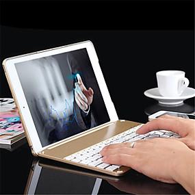 billige iPad-tastaturer-aluminium folio bluetooth tastatur beskyttende tilfælde dække med farverige baggrundsbelyst lys til iPad luft 2 / ipad 6 tilfælde