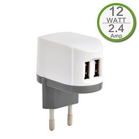 billige Mobiltelefonstilbehør-Oplader til hjemmet / Lille og mobil oplader USB oplader EU Stik Multiporte 2 USB-porte 2.4 A for