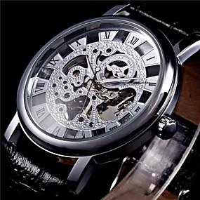 voordelige Merk Horloge-WINNER Heren Polshorloge mechanische horloges Handmatig opwindmechanisme Gewatteerd PU-leer Zwart Hol Gegraveerd Analoog Zilver Gouden