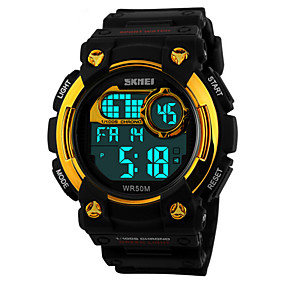 voordelige Merk Horloge-Heren Sporthorloge Polshorloge Digitaal Zwart 50 m Waterbestendig Alarm Kalender Digitaal Rood Blauw Gouden