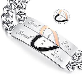 Недорогие Подарки на заказ-Персонализированные ювелирные изделия - Любовь - браслеты - Титановая сталь - золото / серебро -