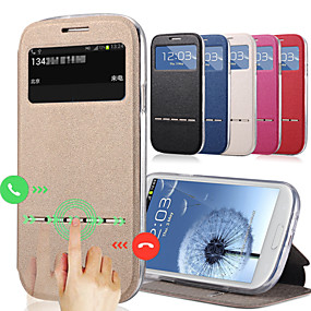 voordelige Galaxy J5 Hoesjes / covers-hoesje Voor Samsung Galaxy J7 / J5 Kaarthouder / met standaard / met venster Volledig hoesje Effen PU-nahka