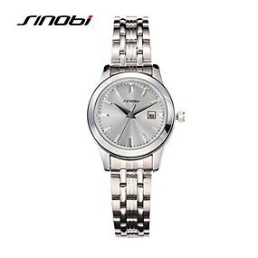 voordelige Merk Horloge-SINOBI Dames Luxueuze horloges Polshorloge Kwarts Zilver 30 m Waterbestendig Kalender Analoog Dames Luxe Modieus Elegant - Zilver