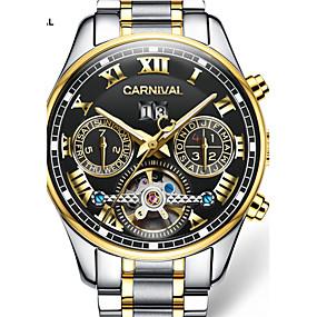 levne Značkové hodinky-Carnival Pánské Hodinky s lebkou Automatické natahování Nerez Bílá / Zlatá 30 m S dutým gravírováním Analog - Digitál Přívěšky - Černá / Zlatá