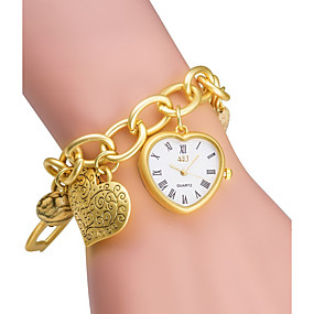 voordelige Merk Horloge-ASJ Dames Modieus horloge Armbandhorloge Gouden Horloge Japans Kwarts Japanse quartz Zilver / Goud 30 m / Analoog Dames Heart Shape - Zilver Gouden