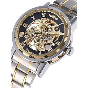 voordelige Merk Horloge-WINNER Heren Skeleton horloge Polshorloge mechanische horloges Automatisch opwindmechanisme Roestvrij staal Zilver Hol Gegraveerd Analoog Luxe zin in hebben - Gouden