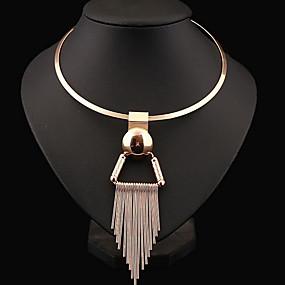 cheap Sterling Silver-Women's Tassel Bib Choker Necklace Statement Necklace Sterling