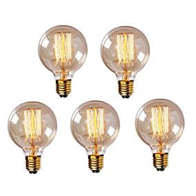 billige Glødelamper-HRY 5pcs 40W E26 / E27 G95 Varm hvid 2300k Kontor / Business Dæmpbar Dekorativ Glødende Vintage Edison lyspære 220-240V
