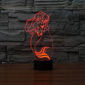 ieftine Lumini Nocturne LED-1 piesă 3D Nightlight USD Intensitate Luminoasă Reglabilă 5 V