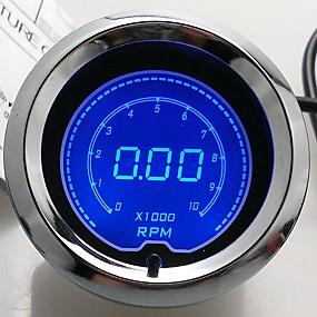 """halpa Moottoripyörä- ja ATV-osat-2 """"(52mm) LCD digitaalinen 7 värinäyttö kierroslukumittari rpm mittari / auto mittari"""