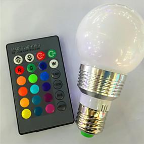 levne LED Smart žárovky-1ks 3 W LED chytré žárovky 120 lm E26 / E27 A60(A19) 1 LED korálky High Power LED Stmívatelné Dálkové ovládání Ozdobné R GB 85-265 V / 1 ks / RoHs