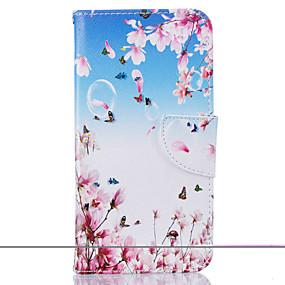 voordelige Galaxy J3 Hoesjes / covers-hoesje Voor Samsung Galaxy J5 (2016) / J5 / J3 Portemonnee / Kaarthouder / met standaard Volledig hoesje Bloem Hard PU-nahka