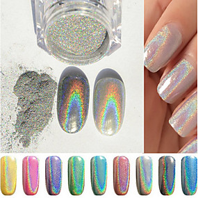 cheap Makeup & Nail Care-1g-box-colorful-new-rainbow-shinning-mirror-nail-glitter-powder-perfect-holographic-nails-dust-laser-holo-nails-pigment
