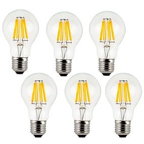 Χαμηλού Κόστους Λαμπτήρες LED με νήμα πυράκτωσης-KWB 6pcs 7 W LED Λάμπες Πυράκτωσης 760 lm E26 / E27 A60(A19) 8 LED χάντρες COB Διακοσμητικό Θερμό Λευκό Ψυχρό Λευκό 220-240 V / 6 τμχ / RoHs