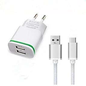 billige Hurtigladere-Oplader til hjemmet USB oplader EU Stik Hurtig opladning / Opladerkit 2 USB-porte 3.1 A for
