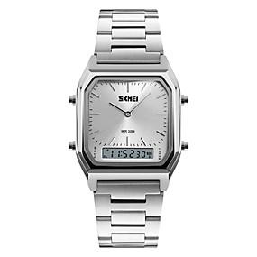 4e3efae7649 baratos Jóias  amp  Relógios-Homens Relógio Esportivo Relógio de Pulso  Quartzo Aço Inoxidável Prata