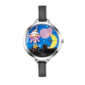billige Klokker med tegneseriefigurer-Dame Moteklokke Armbåndsur Quartz Quiltet kunstlær Svart 30 m Hverdagsklokke Analog Tegneserie - Blå