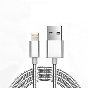 billige iPhone-kabler og -adaptere-Apple Lightning / Belysning Kabel <1m / 3ft Normal / Flettet Aluminium / Metall USB-kabeladapter Til iPhone 7 / iPhone 7 Plus / iPad