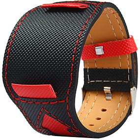 abordables Montres de Marque-Toile et Cuir Bracelet de Montre  Sangle pour Noir 20cm / 7.9 Pouces 2cm / 0.8 Pouces