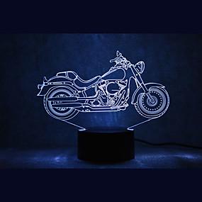 ieftine Lumini Nocturne LED-1 piesă 3D Nightlight USD Rezistent la apă / Senzor / Intensitate Luminoasă Reglabilă LED / Modern contemporan
