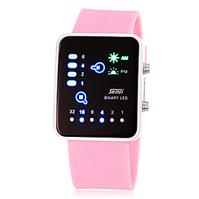 billige kvinners digitale klokker-Dame Armbåndsur Square Watch Digital Silikon Rosa / Gul / Rose Digital damer Sjarm Mote - Gul Rose Rosa To år Batteri Levetid / Maxell626 + 2025
