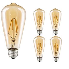 baratos Lâmpadas de LED Filamento-5pçs 4 W Lâmpadas de Filamento de LED 360 lm E26 / E27 ST64 4 Contas LED COB Decorativa Branco Quente 220-240 V / 5 pçs / RoHs