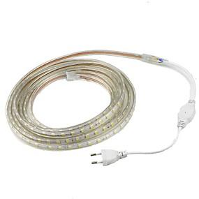 ieftine Benzi Lumină LED-2m 5050 10mm bandă led ușoară impermeabilă la exterior IP67 60leds / m bandă flexibilă / alb cald / alb / roșu / galben / albastru / verde plug andeu (ac 220v-240v)