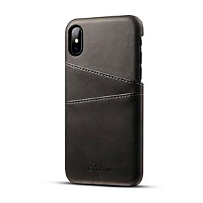 cheap Daily Deals-Case For Apple iPhone XS / iPhone XR / iPhone XS Max Card Holder / Ultra-thin Back Cover Solid Colored Hard PU Leather
