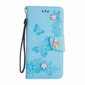 Недорогие Чехлы и кейсы для Galaxy S5 Mini-Кейс для Назначение SSamsung Galaxy S8 Plus / S8 / S7 edge Кошелек / Бумажник для карт / Стразы Чехол Бабочка Твердый Кожа PU