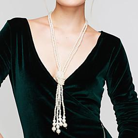 levne Páskové náhrdelníky-Dámské Perla Strands Náhrdelník Y Náhrdelník dlouhý náhrdelník Vícevrstvé Laso dámy Elegantní Vícevrstvé Perly Napodobenina perel Bílá Náhrdelníky Šperky Pro Svatební Párty Denní Ležérní