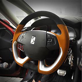 billige Rattet dækker-Ratovertræk til din bil 38 cm Sort / Brun / Sort / Rød Til Citroen DS6 / DS5LS Alle år