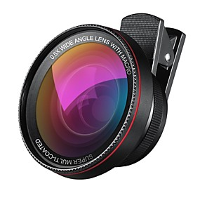 Недорогие Камера мобильного телефона-2 в 1 профессиональном объективе с объективом hd объектива 0.6x супер широкоугольный объектив 10x макрообъектив универсальный клип на