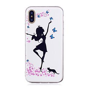 olcso iPhone tokok-Case Kompatibilitás Apple iPhone X / iPhone 8 Plus Foszforeszkáló / IMD / Minta Fekete tok Szexi lány Puha TPU mert iPhone X / iPhone 8 Plus / iPhone 8