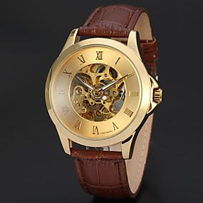 voordelige Merk Horloge-WINNER Heren Skeleton horloge Polshorloge mechanische horloges Automatisch opwindmechanisme Leer Zwart / Bruin 30 m Hol Gegraveerd Analoog Luxe Klassiek Vintage - Goud Zwart