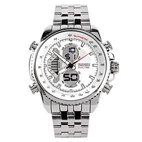 voordelige Merk Horloge-SKMEI Heren Voor Stel Polshorloge Digitaal horloge Japans Kwarts Zilver 30 m Waterbestendig Kalender Chronograaf Analoog-Digitaal Luxe Modieus - Silver / Black Zilver / Grijs Zilverachtige / White