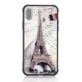 halpa iPhone 6s kotelot-Etui Käyttötarkoitus Apple iPhone X / iPhone 8 Iskunkestävä / Kuvio Takakuori Sana / lause / Lippu / Eiffel-torni Kova Karkaistu lasi varten iPhone X / iPhone 8 Plus / iPhone 8
