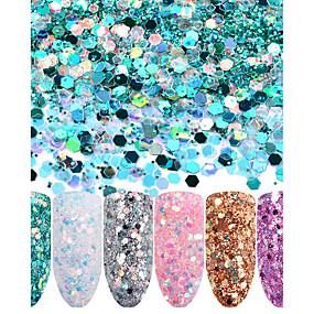 cheap Makeup & Nail Care-six-piece-suit-glitters-sparkle-shine-sparkle-shine-sequins-glitter-powder-silvery-gold-pink-purple-white-lime-green-nail-art-design