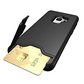 olcso Galaxy S tokok-Case Kompatibilitás Samsung Galaxy S9 Plus / S9 Kártyatartó / Ütésálló / Állvánnyal Fekete tok Egyszínű Kemény PC mert S9 / S9 Plus / S8 Plus