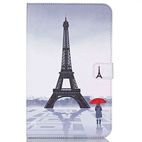 voordelige Galaxy Tab E 9.6 Hoesjes / covers-hoesje Voor Samsung Tab E 9.6 Portemonnee / Kaarthouder / met standaard Volledig hoesje Eiffeltoren Hard PU-nahka