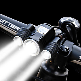 baratos Lanternas & Luminárias-Luzes de Bicicleta Luz Frontal para Bicicleta Farol para Bicicleta LED Ciclismo Impermeável Ajustável Ângulo de visão largo Bateria Recarregável 1900 lm Bateria de Lítium Potência Recarregável Branco