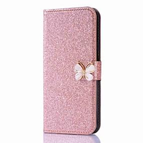voordelige Galaxy J3 Hoesjes / covers-hoesje Voor Samsung Galaxy J7 (2017) / J7 (2016) / J5 (2017) Portemonnee / Kaarthouder / Strass Volledig hoesje Vlinder / Glitterglans Hard PU-nahka