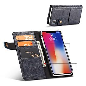 olcso iPhone tokok-Case Kompatibilitás Apple iPhone X / iPhone 8 Kártyatartó / Ütésálló / Flip Héjtok Egyszínű Kemény PU bőr mert iPhone X / iPhone 8 Plus / iPhone 8
