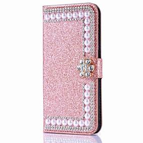 abordables Coques d'iPhone-étui pour iphone xr xs xs max portefeuille / porte-cartes / strass étui solide en cuir PU dur coloré pour iphone x 8 8 plus 7 7plus 6s 6s plus se 5 5s