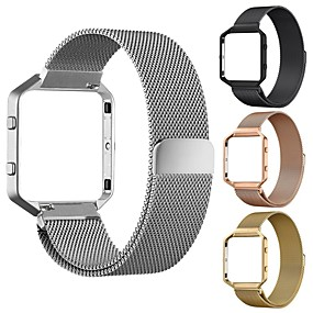 baratos Pulseiras para Fitbit-Pulseiras de Relógio para Fitbit Blaze Fitbit Pulseira Estilo Milanês Aço Inoxidável Tira de Pulso