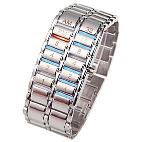 billige 70 % RABAT-Herre Digital Watch Rustfrit stål Sort / Sølv 30 m Kronograf Kreativ Nyt Design Digital Luksus Armring - Sort Sølv Et år Batteri Levetid / SSUO LR626