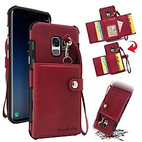 levne Galaxy S pouzdra / obaly-Carcasă Pro Samsung Galaxy S9 Plus / S9 Peněženka / Pouzdro na karty / Nárazuvzdorné Zadní kryt Jednobarevné Pevné Pravá kůže pro S9 / S9 Plus / S8 Plus